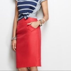 J. Crew Pencil Skirt in Coral Red
